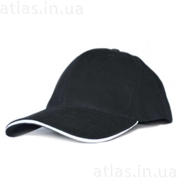 черная бейсболка белый кант