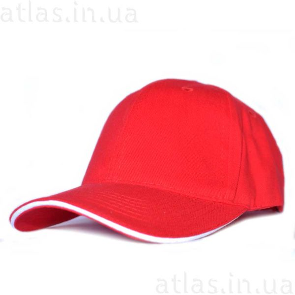 красная бейсболка белый кант