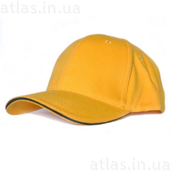 желтая бейсболка черный кант