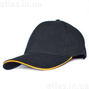 черная бейсболка желтый кант