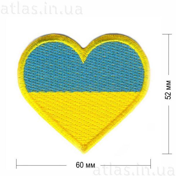 ukraine-heart нашивка желто-голубая 60х52 мм