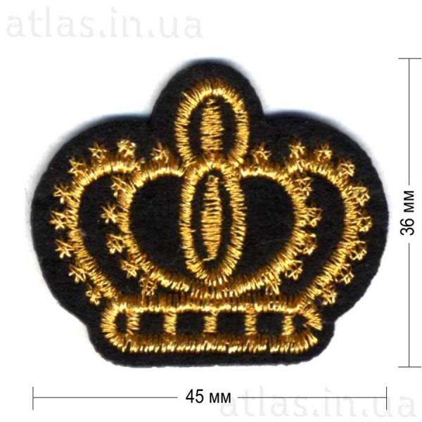 золотая корона на черном фетре 45х36 мм