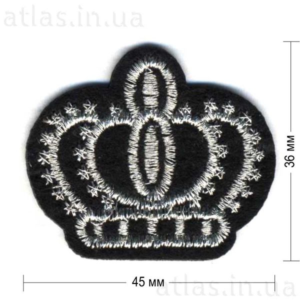 серебряная корона на черном фетре 45х36 мм