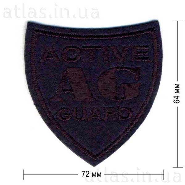 ag-active-guard нашивка темно-синяя 72х64 мм