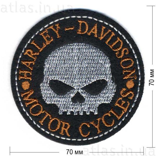 harley davidson round patch нашивка черная 70х70 мм