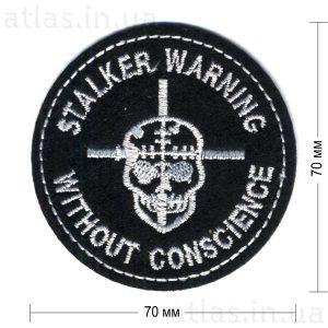 stalker warning нашивка на рюкзак черная 70х70 мм