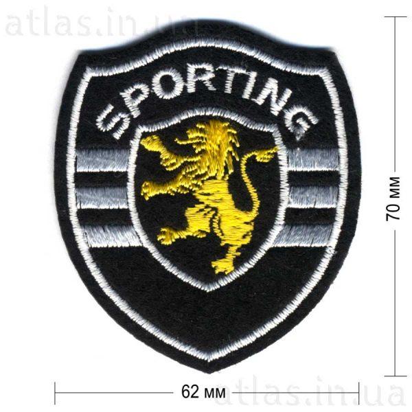 sporting нашивка на куртку черная 62х70 мм